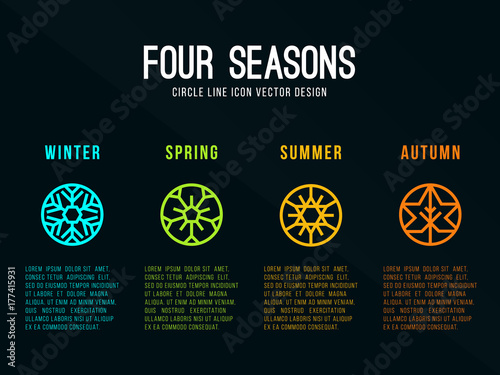 4 seasons icon sign in circle border line with Snow Winter , Flower Spring , Sun Fotobehang