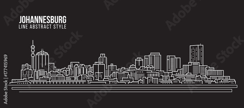 Fototapeta premium Cityscape Budynek Grafika liniowa Projekt ilustracji wektorowych - panoramę johannesburga