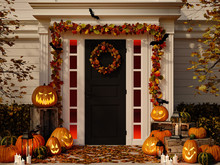 Halloween Decorated House With Pumpkins. 3d Rendering