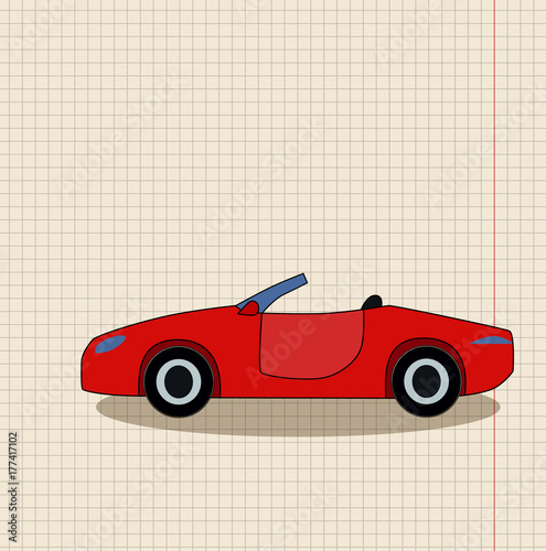 Staande foto Cartoon cars cartoon car red