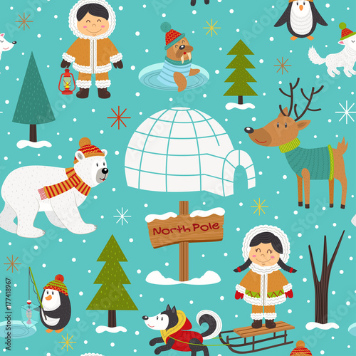 seamless pattern with Eskimos and arctic animals - vector illustration, eps Canvas-taulu