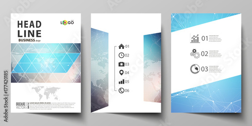 Fototapeta The vector illustration of editable layout of three A4 format modern covers design templates for brochure, magazine, flyer, booklet. Molecule structure. Science, technology concept. Polygonal design. obraz