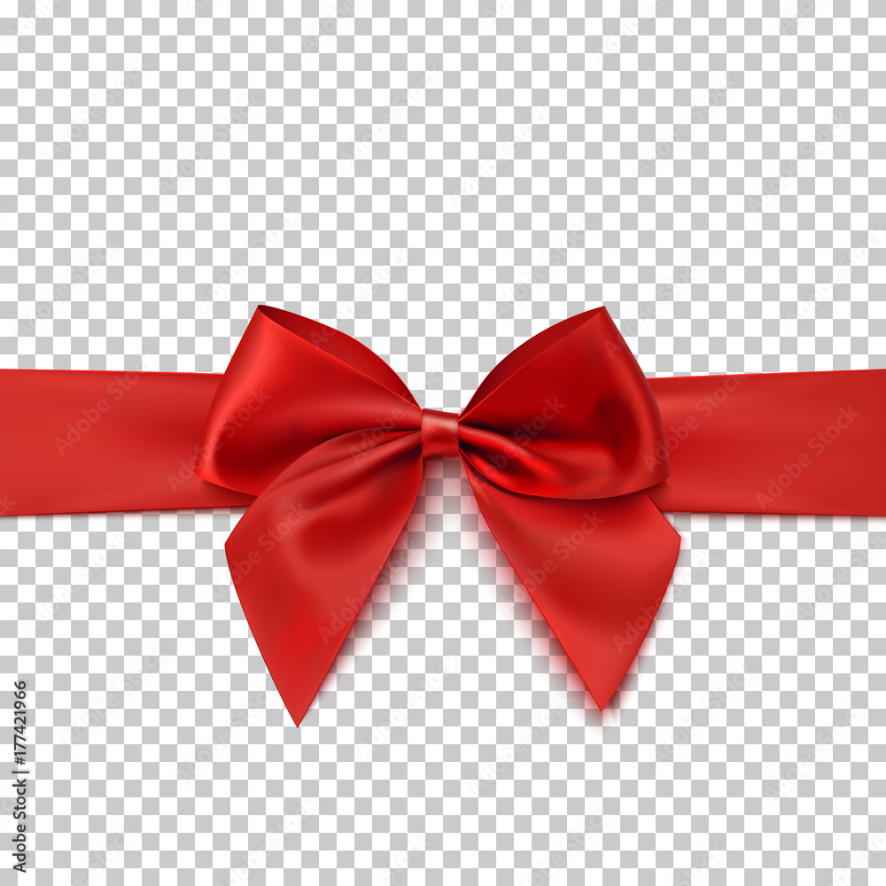 Fototapeta Realistic red bow and isolated on transparent background.