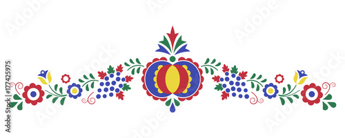 Fényképezés  Traditional folk ornament, the Moravian ornament from region Slovacko, floral em