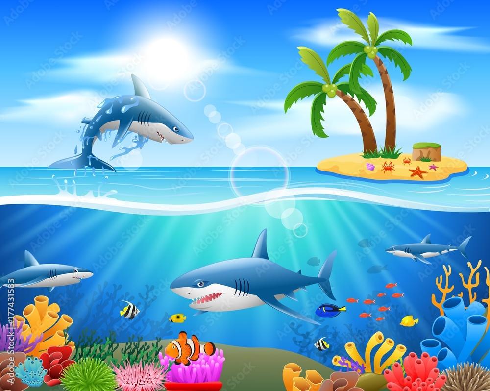GamesAgeddon - Stock - Cartoon shark jumping in blue ocean