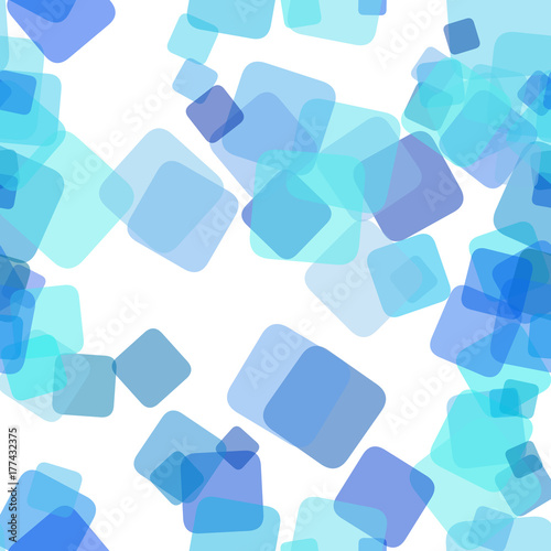Obraz Seamless light blue chaotic square pattern background - vector graphic design from random rotated squares with opacity effect - fototapety do salonu