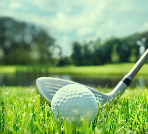 Plakat Kij golfowy i piłka w trawie