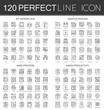 120 outline mini concept infographic symbol icons of my workplace, creative process, mind process, human productivity.
