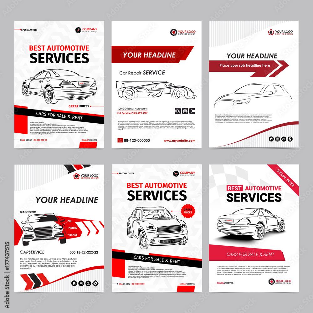 Auto Repair Services >> Valokuva Auto Repair Services Business Layout Templates Set