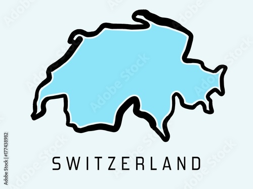 Switzerland map outline Fototapet