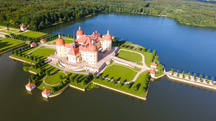 Aerial view of Moritzburg Castle, Saxony - Germany