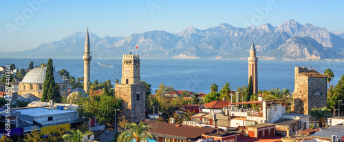 Fotobehang Turkije Panoramic view of Antalya Old Town, Turkey