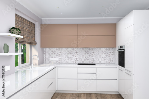 Realistic 3d Rendering Modern Creative White Kitchen Furniture Design In Light Interior Interior Design Glossy Facades Home Interior Design Software Programs Scandinavian Design Buy This Stock Illustration And Explore Similar Illustrations