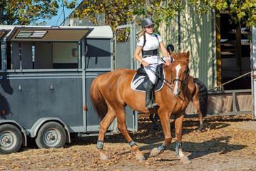 jolie jeune fille ses chevaux et son van