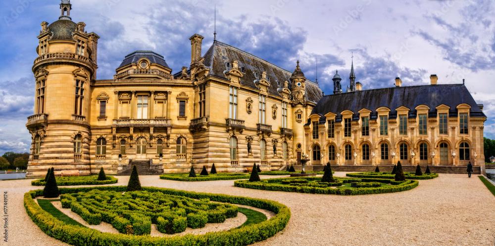 Fototapety, obrazy: Romantic beautiful castle Chateau de Chantilly. Royal residence. France