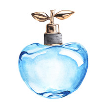Watercolor Blue Perfume Bottle Illustration Fashion Clipart Hand Painted