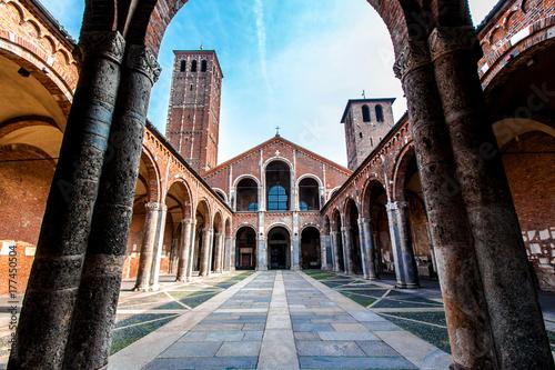 Fotografie, Obraz  The Basilica of Sant'Ambrogio in Milan, Italy