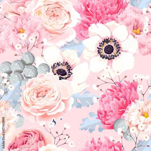 Stoffe zum Nähen Nahtlose Muster mit Rosen und Anemonen