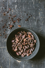 Food: Cocoa Beans On Table