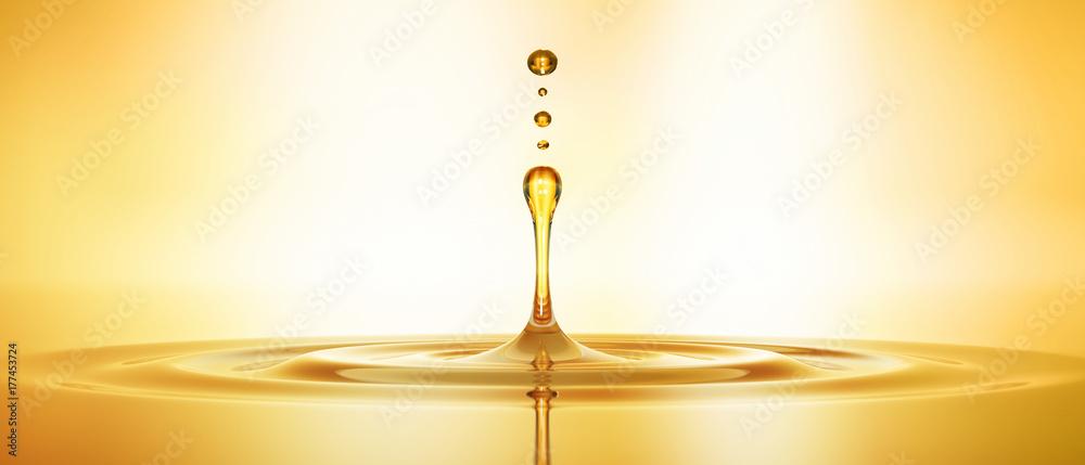 Fototapety, obrazy: Tropfen aus goldenem Öl 3