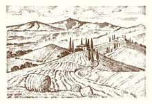 Engraved Hand Drawn In Old Sketch And Vintage Style For Label. Italian Tuscany Fields Background And Cypress Trees. Harvesting And Haystacks. Rural Landscape Of Wineyard And Village Or Rustic Houses.