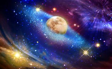 Panel Szklany Do sypialni Full moon with star at dark night sky .