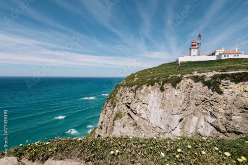Foto op Aluminium Vuurtoren Lighthouse on Cabo da Roca cape in Sintra, Portugal, summer day with a view on the Atlantic ocean