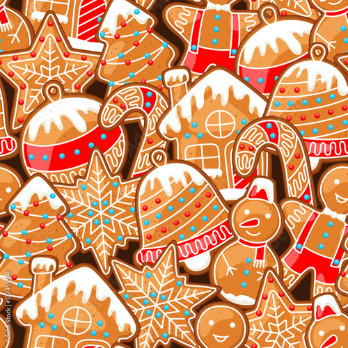 Cotton fabric Merry Christmas seamless pattern with various gingerbreads