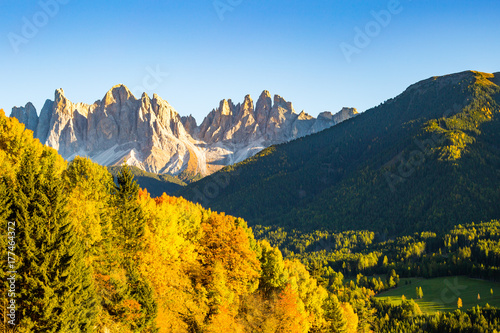 Plakat Jesień w Alps Dolomitach, Włochy