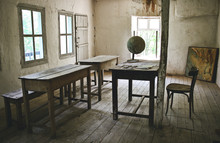 View Of Abandoned Old School A...