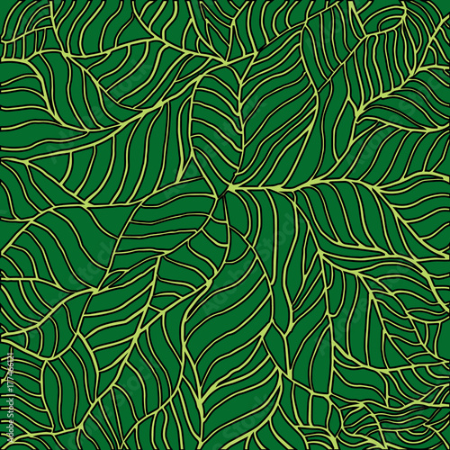 Seamless tropical pattern depicting palm tree