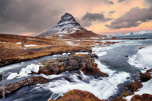 Sunset at Kirkjufellsfoss during winter Canvas Print