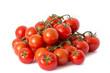 viele rote Tomaten auf weißem Hintergrund freigestellt