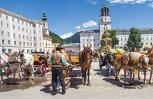 Horse Carriage Tourist Attraction In Salzburg, Austria