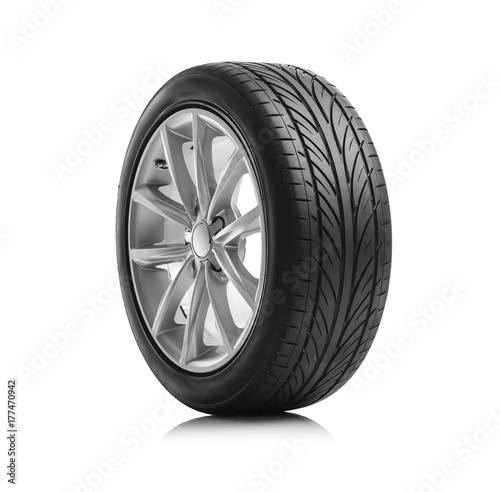 Fotografie, Tablou Car wheel on white background.