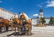 Old Horse Tourist Carriage In Salzburg, Austria