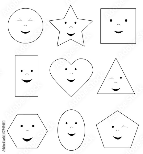 coloring page with smiling happy basic geometric shapes