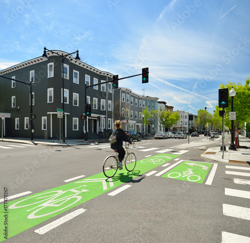 Clear Streat Signs And Markings On Protected Bike Lane Wallpaper Mural