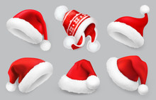 Santa Claus Hat. Winter Clothes. Christmas 3d Realistic Vector Icon Set
