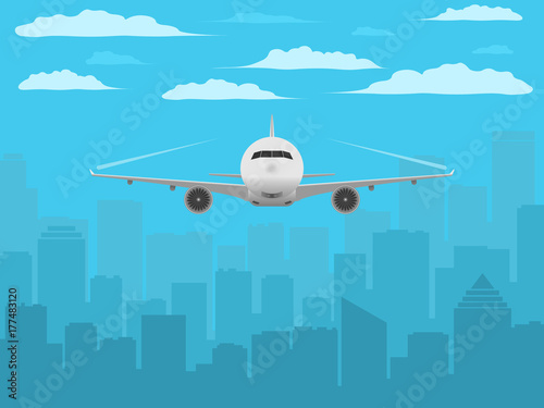 Plane in front of city silhouette  Realistic airplane and