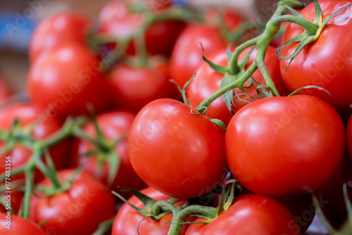 closeup of vine tomatoes