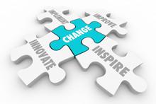 Change Innovate Improve Implement Puzzle Pieces 3d Illustration