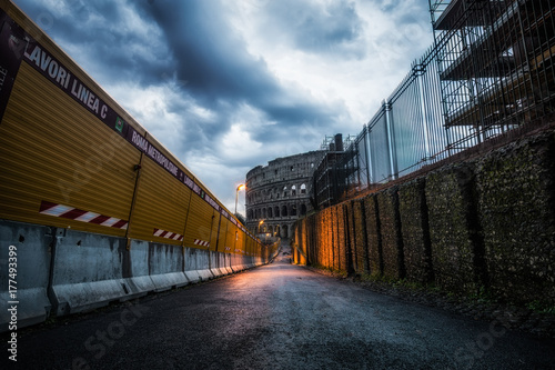 Fotografia, Obraz  Construction site and Colosseum