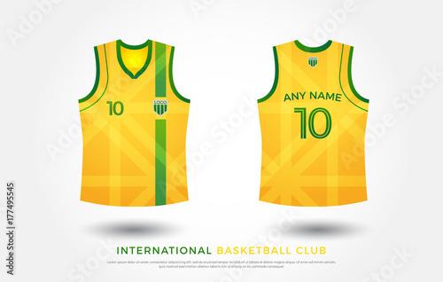 4232846bc basketball t-shirt design uniform set of kit. basketball jersey  template.green and