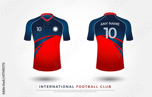 Soccer T Shirt Design Uniform Set Of Kit Football Jersey Template White Blue And Red Color Front Back View Mock Up