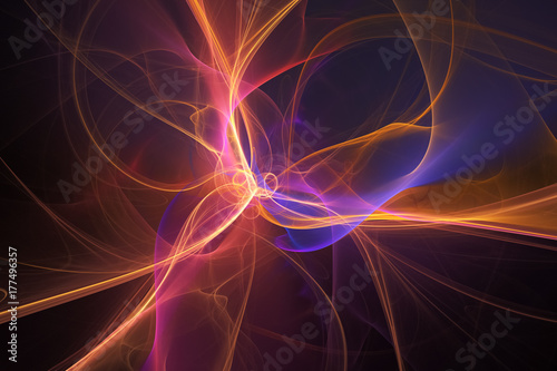 Foto op Aluminium Fractal waves Abstract orange and blue glowing smoky shapes on black background. Fantasy fractal design. Digital art. 3D rendering.