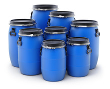 Group Of Plastic Barrels
