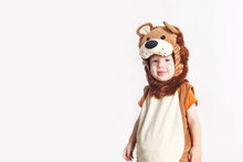 Adorable Toddler Dressed Up In Lion Halloween Costume