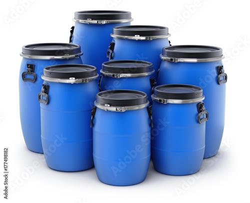 Tableau sur Toile Group of plastic barrels