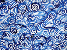 Abstract Blue White Spiral Wav...
